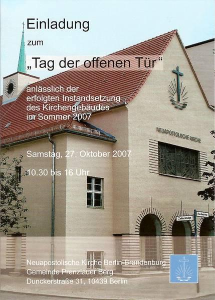 EInladungskarte Zum Tag Der Offenen Tür In Berlin Prenzlauer Berg